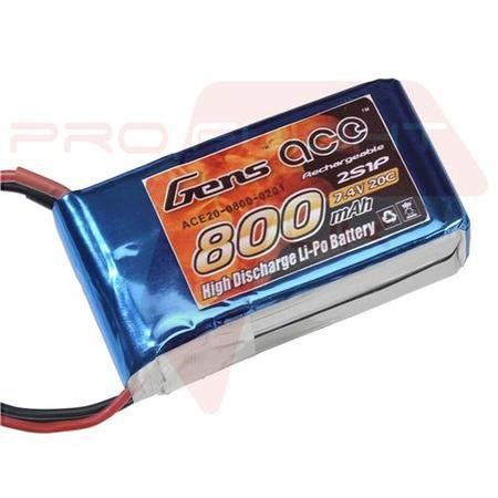 Gens Ace 800mAh 2S 7.4V 40C LiPo Battery Pack