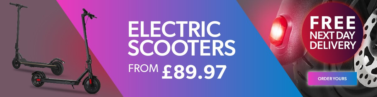 Electric scooters from £89.97.