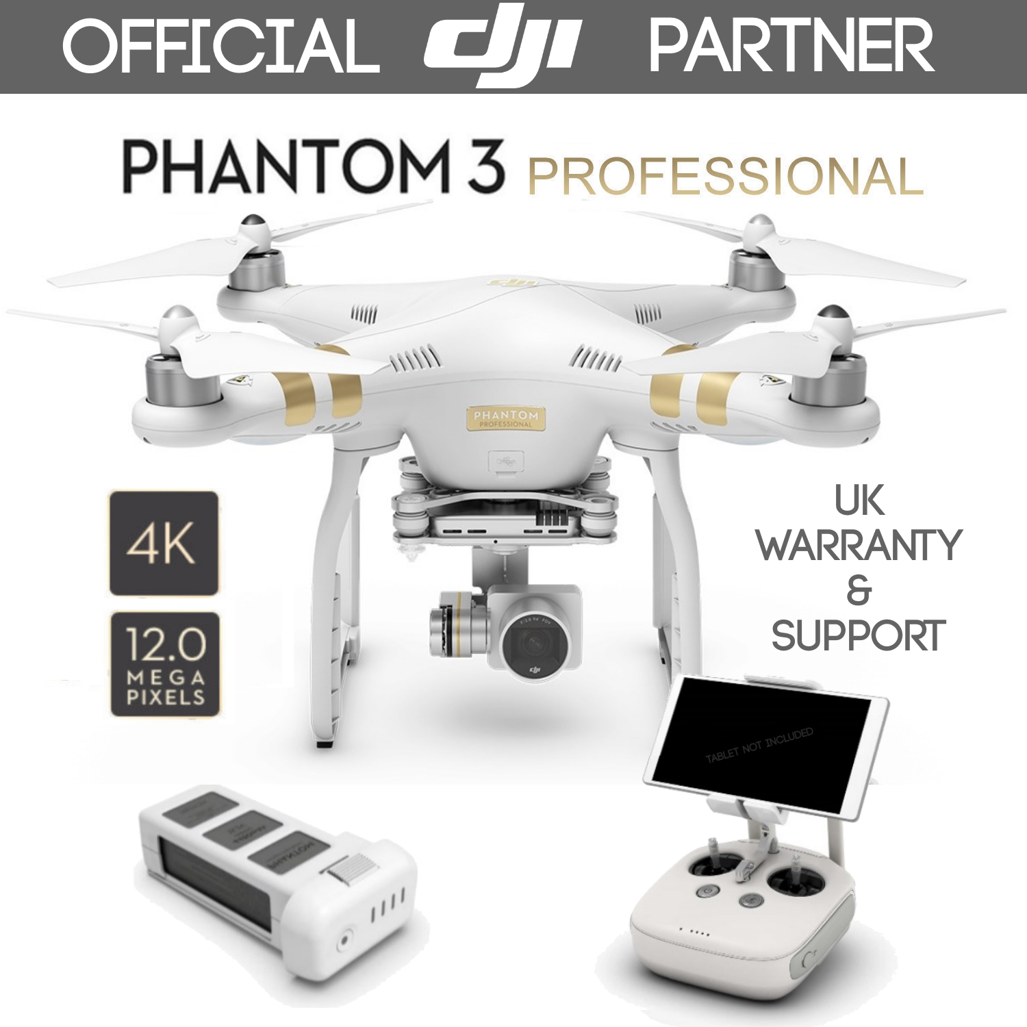 DJI Phantom 3 Professional Gold Quadcopter Drone With UHD 4K 12MP ...