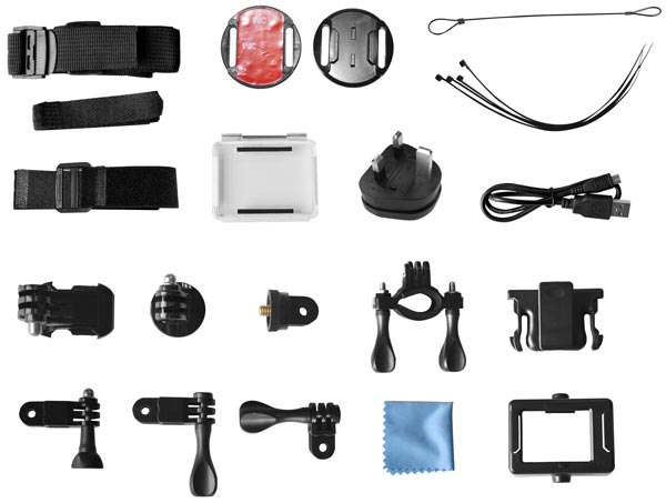 Included accessory pack includes bike, helmet and body clips and a waterproof housing