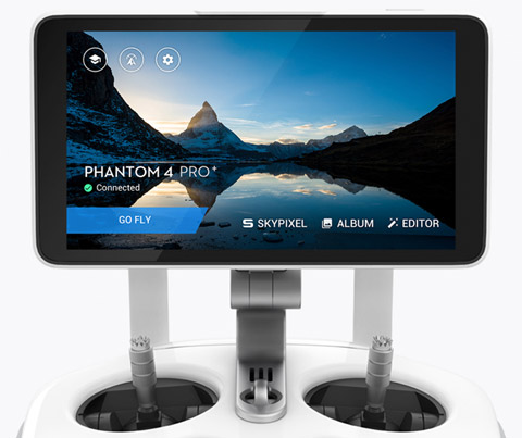 DJI Phantom 4 Pro+ controller with integrated screen and DJI GO 4 app